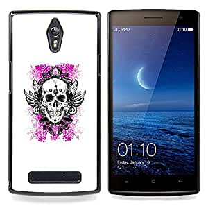- White Pink Floral Death Skull Wings - - Snap-On Rugged Hard Cover Case Funny HouseFOR Oppo Find 7 X9007