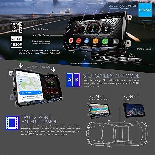 UGAR 9インチ 大画面 HDアンドロイド 10.0カーナビゲーションA/Vシステム DSPの効果音、2+16GB、WiFi経由でインターネットを共有する、DABシルバーボタンバージョン リアビューカメラ セット