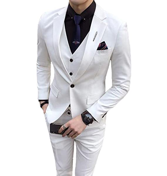 Amazon.com: sipei para hombre, color blanco solapa Prom ...