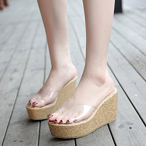 KPHY-La Primavera Y El Verano Nuevo Estilo Tacon 9 Cm De Tacon Alto Pendiente Grano De Madera Plataforma Boca De Pez Impermeable Zapatos De Mujer Transparente Cristal Vidrio Pegamento Cool Zapatillas Apricot