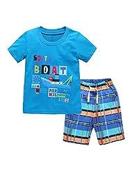 Coralup Little Boys Cotton Short Sleeve Set 2Pcs T-Shirt&Pants,18M-6T