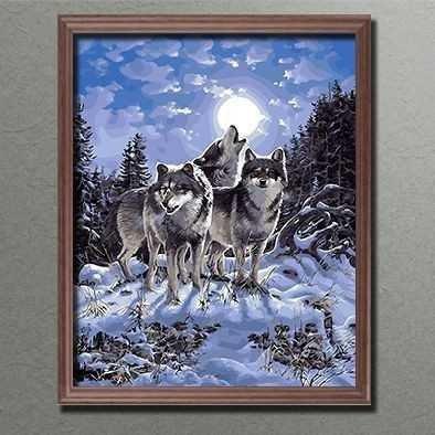 DIY Malen nach nach nach Zahlen  Wolfsrudel im Mondschein Leinwand fertig gespannt auf Keilrahmen Größe 40 x 50 cm (MNZ-BBL-650 ) 1dadda