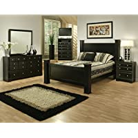 Sandberg Furniture Elena  5 Piece Bedroom Set, Queen, Black