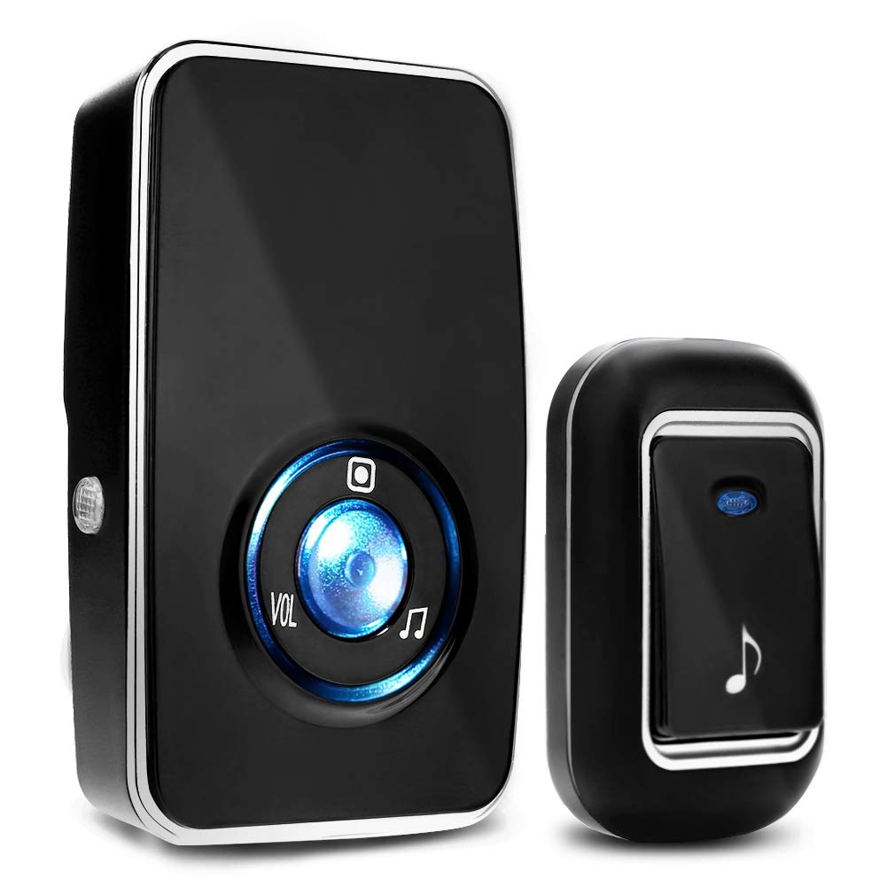 Wireless Doorbell Kit with 1 Receiver and 1 Remote Push Button, Operating at 1000 Ft with 36 Chimes, 3 Level Volume, Green Strobe Light (Black One Receiver)
