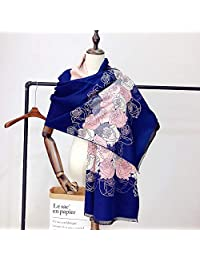 YUANZ Home Winter Thick Warm Scarf Rose Jacquard Fashion Warm Scarf (Color : Blue, Size : 180 * 70)