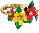 "Betsey Johnson ""Tropical Punch"" Tropical Mixed Flower Hinged Bangle Bracelet"