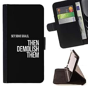 - Goals Motivations Insignia Text Black - - Prima caja de la PU billetera de cuero con ranuras para tarjetas, efectivo desmontable correa para l Funny HouseFOR Samsung Galaxy A3