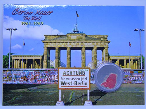 POSTCARD WITH SMALL AUTHENTIC PIECE OF THE BERLIN WALL 'Brandenburg Gate_Die Mauer-The Wall-Le Mur'', Germany
