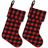 EDLDECCO Red and Black Buffalo Check Stocking Double layers a Fine Decorative Handiwork for Holiday Party 20.5 inch - Pack of 2