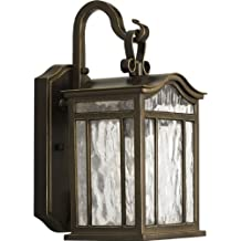 Progress Lighting P5715-108 1-Light Small Outdoor Wall Lantern with Unique Arched Roof and Top Ribbon Scrolled Loops with Arching Arms, Oil Rubbed Bronze
