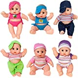 Liberty Imports Cute Lil Baby Doll Collection | Pack of 6 Assorted Mini Infant All Vinyl Dolls | Girls Toys Bulk Gift Bundle Party Favors Supplies (8 Inches Tall)
