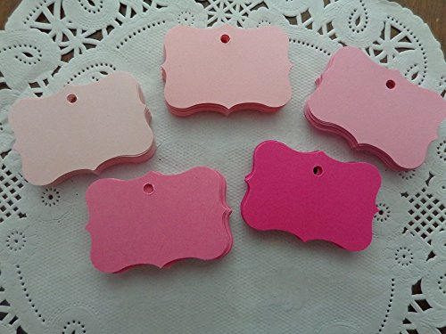 """Small Mixed Pink Price Tags - Hang Tags - Wedding Favor Tags - Die Cuts - Blank Tags - Size Tag measures: 1 3/4"""" x 1 1/8"""" (Set of 100 pieces) from Honeybear Party Boutique"""