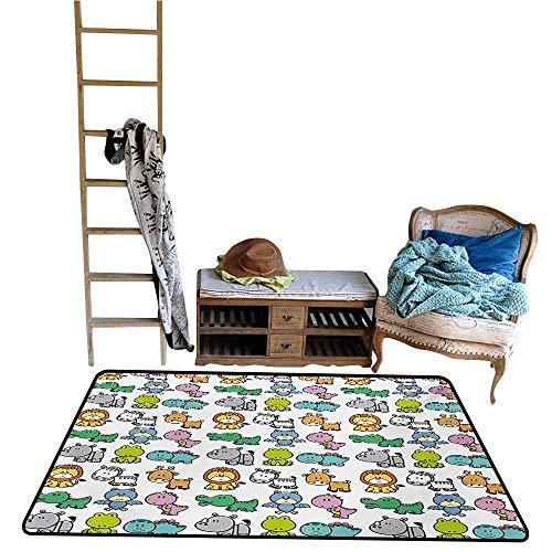 - coolteey Play Safe Learn Educational Mat Doodle,Cartoon Style Animals Lion Zebra Frog Dinosaur Crocodile Bat Rhino Fun Illustration,Multicolor.jpg 48