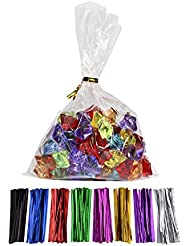100 Pcs 7 in x 5 in(1.4mil.) Clear Flat Cello Cellophane Treat Bags Good for Bakery, Cookies, Candies ,Dessert with random color Twist Ties!