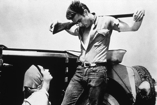 (Giant 24x36 Movie Poster James Dean iconic with gun across back looking at Elizabeth Taylor)