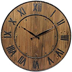 Trent Oversized Large Round Wooden Wall Clock 24 Roman Numerals Rustic Home Decoration