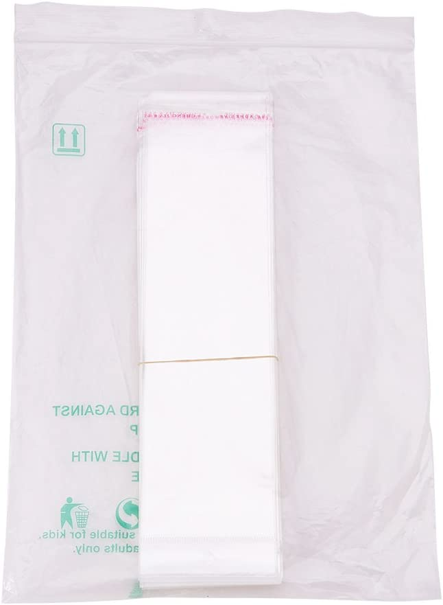 Trasparente PandaHall 100PCS Sacchetto OPP Borsa Sacchetti di Cellophane con Chiusura Adesiva 26x7cm Rettangolo