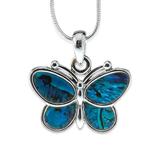 Silver and Blue Green Abalone Paua Shell Butterfly Pendant Mood Necklace Perfect Jewelry Gift for Girls (Child Pendant Butterfly)