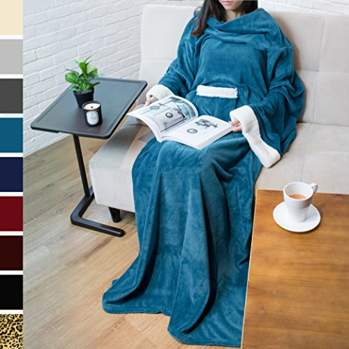 PAVILIA Deluxe Fleece Blanket with Sleeves for Adult, Men, and Women| Elegant, Cozy, Warm, Extra Soft, Plush, Functional, Lightweight Wearable Throw (Sea Blue) (Snuggie Blanket For Women)