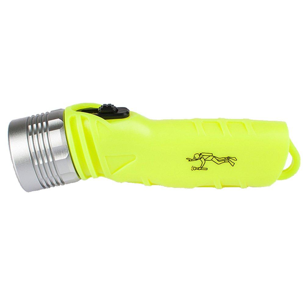 Three trees 3W Waterproof Underwater Diving Shallow Flashlight Torch Lamp sBrightness,100 Lumens LED Scuba Dive LED Flashlight Waterproof Diving Flashlight Bright yellow
