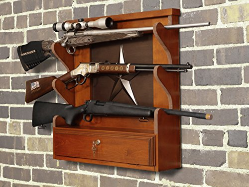 American Furniture Classics Lone Star 3 Gun Wall Rack with Locking Storage, Geometric, Medium Brown