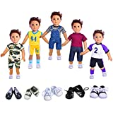 Ebuddy Boy Doll Clothes Include 5 Outfits and 2 Pairs Shoes For 18 inch Dolls Like American Girl & Boy Dolls Logan Doll