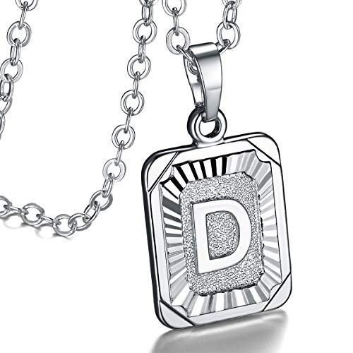 FOCALOOK Monogram Necklace A-Z 26 Letters Pendants Platinum Plated Square Script Initial Jewelry with Stainless Steel 22 Inch Chain, Capital Alphabet Necklaces for Women Girls (Letter D)