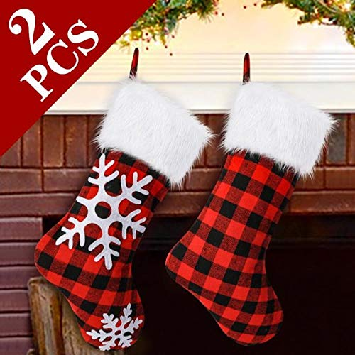 AerWo 2pcs Plaid Christmas Stockings, Red and Black Buffalo Check Christmas Stocking, Triple Layers Christmas Snowflake Stockings with Faux Fur Cuff, 18 inches