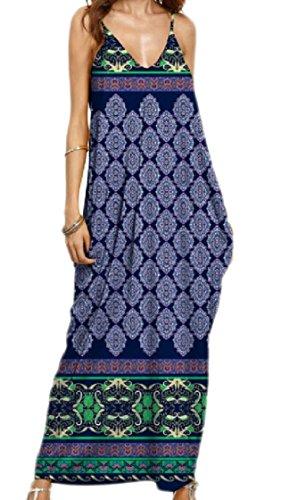 Coolred-femmes Fronde Bouffante Taille Plus Backless Col Cranté Mode Floral Longue Robe 1