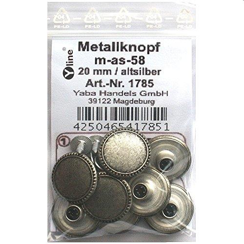 8 Metall Knöpfe altsilber 20 mm, Jeansknöpfe Metallknöpfe Jeans Knopf, m-as-58