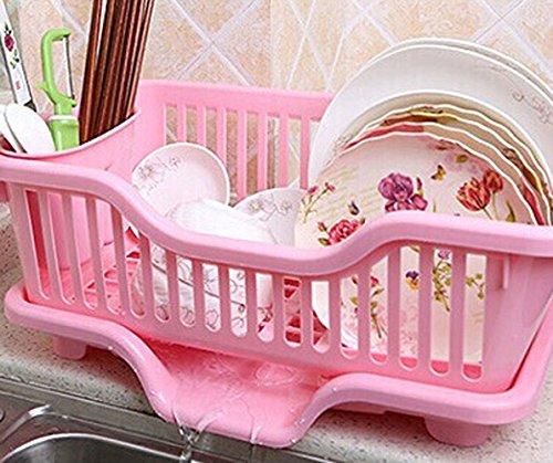 (Large Kitchen Rack Shelf Kitchen Dish Rack/drain Dishes Racks / Kitchen-pod (Pink))