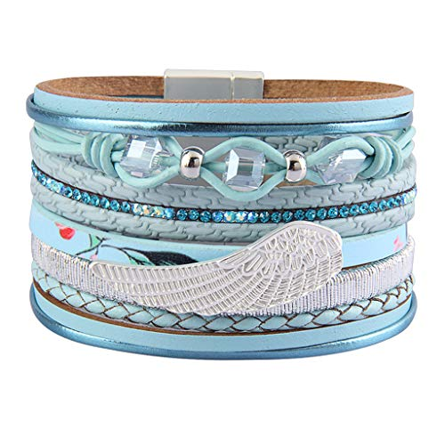 Jenia Angel Wings Leather Cuff Bracelet Boho Wrap Bracelet Multi Rope Braided Bracelet Gorgeous Crystal Bohemian Jewelry for Women, Mom, Daughter, Girls, Teenager Birthday Gift