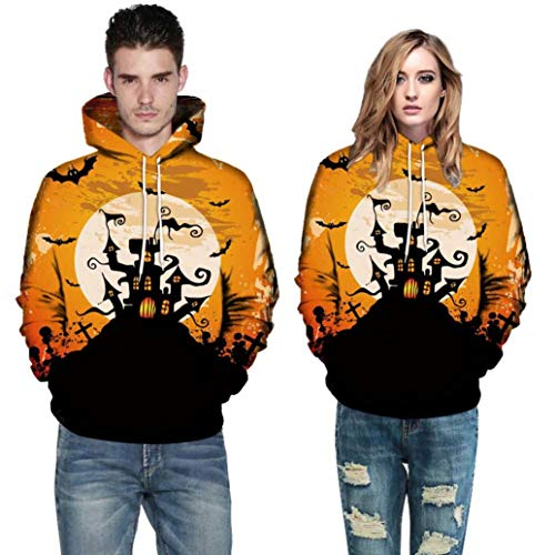 8cb70c9bd8fc63 Ankola Halloween Hoodies Men Women 3D Print Long Sleeve Halloween Hoodies  Top Blouse Shirts Unisex (