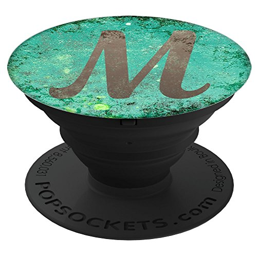 """CocomoSoul-Mobile Turquoise Grunge Capital Letter """"M"""" Alphabet Initial PopSockets Stand for Smartphones and Tablets 60%OFF"""