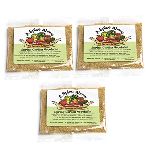A Spice Above Dips, Spreads, and Dressing Mixed Seasonings Party Packets, 3 Pack (Spring Garden Vegetable) ()