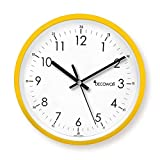 """Decowall DSH-M22Y 8.8"""" Non-ticking Silent Modern Metal Wall Clock DIY for Living Room Bedrooms Office Kitchens (22.5cm, Yellow)"""