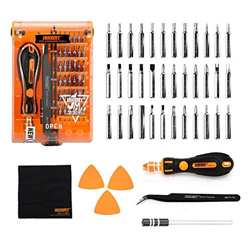 Screwdriver Set 43 in 1 Precision Screwdriver Kit JAKEMY Magnetic Replaceable Bits Repair Tool Kit Opening Tool and Tweezer for iphone Cellphone PC - 4.0 Digital Clock