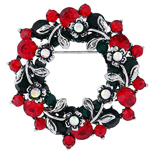 FERVENT LOVE Vintage Sliver Christmas Wreath Brooch Pin for Women (Brooch Wreath)