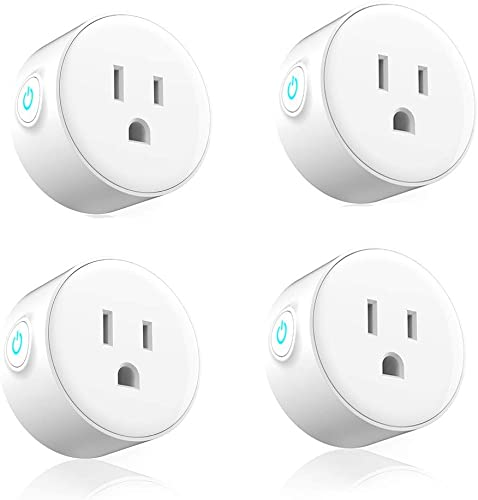 Smart Plug 4 Pack, Woostar 10A Mini WiFi Plug Outlet Compatible with Amazon Alexa, Google Home, IFTTT, WiFi Socket Remote Controls Your Devices from Anywhere by Phone, No Hub Required