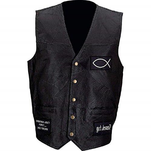 Italian Stone Design Leather Vest - 6