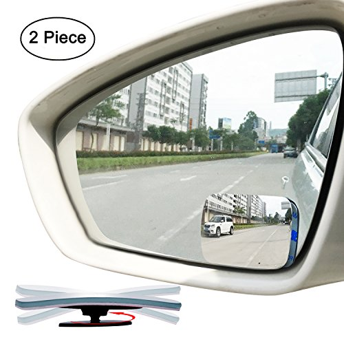 - Slim Square Blind Spot Mirror, Ampper HD Glass Frameless Convex Rear View Mirror, Pack of 2