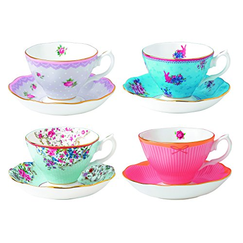 Albert Collection (Royal Albert Candy Teacups and Saucers, (Set of 4), Mixed)