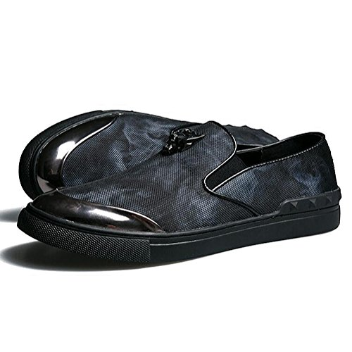 Mens Leder Freizeit Sehnen Schuhe Dress Herbst Business Hochzeit Mode Rutschen Schwarzer Druck Blau