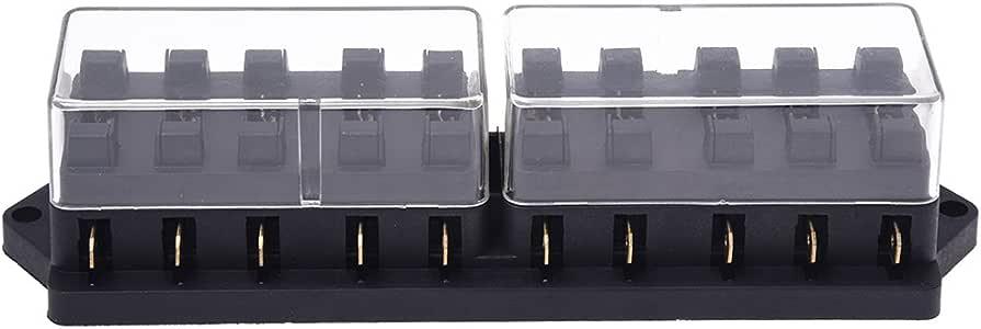 SODIAL(R) Portafusible Caja de Fusible Plastico 10 Vias 12V para Coche Auto Negro: Amazon.es: Bricolaje y herramientas