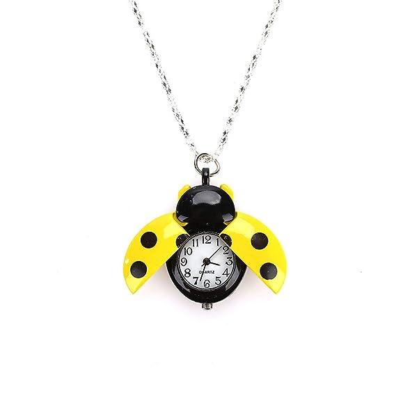Rosepoem Reloj de Bolsillo Fob Reloj Moda Escarabajo Reloj Joyas Colgante Collar Ladybug: Amazon.es: Relojes