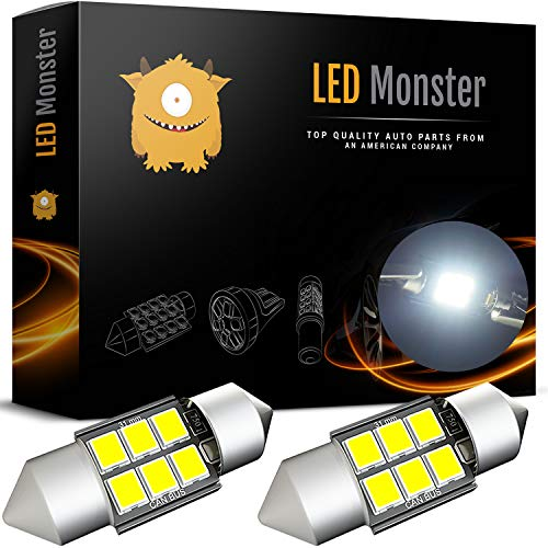 LED Monster 2-Pack 6 SMD 31mm LED Bulb CANBUS 3030 Festoon White Color Chipset Error-Free Festoon Lights Map Dome Door Light for DE3175 DE6428 (2)