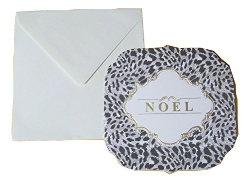 Holiday Foil Blank Cards ~ Noel in Animal Print Wreath (Gold Foil, 6 Shaped Cards with Ivory Envelopes; 5