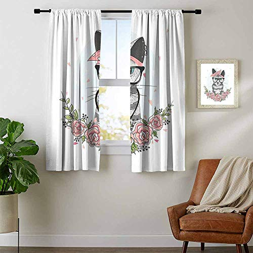 (Mozenou Kitten, Curtains Valance, Hipster Cool Cat with Spectacles Scarf Necklace Earrings and Flowers Little Hearts, Curtains Kitchen Window, W63 x L72 Inch Multicolor)