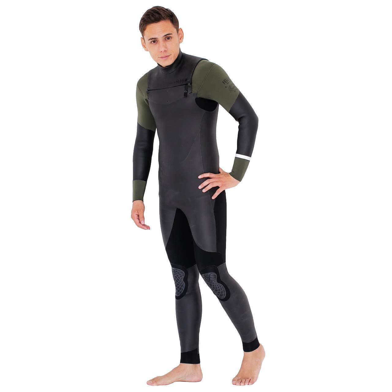 セミドライスーツ ウェットスーツ メンズ セミドライ ウエットスーツ サーフィン FELLOW ALL3mm 保温起毛素材 ノンジップ ジップレス 黒 Medium