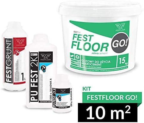Microcemento FESTFLOOR GO! - Béton ciré kit 10 m² Piso, pared (2 capas), paleta de colores RAL (FF7004)